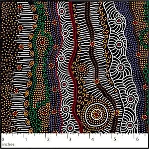 Gathering By The Creek Brown, Authentic Aboriginal Fabric