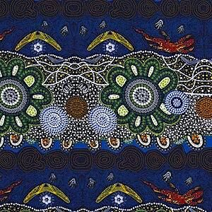 Home Country Green, Authentic Aboriginal Fabric