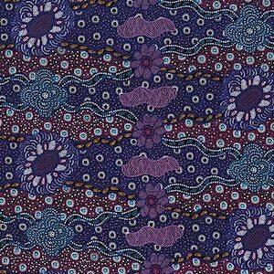 Lillup Dreaming Purple, Authentic Aboriginal Fabric
