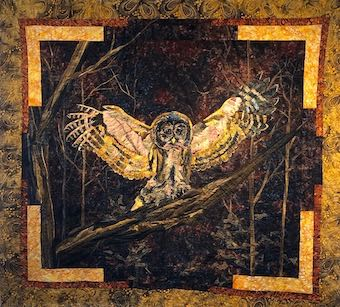Barred Owl in Moonlight, Art Quilt by Deb Black of Dark Star Fabrics