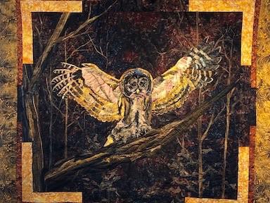 Barred Owl in Moonlight, Art Quilt by Deb Black of Dark Star Fabrics