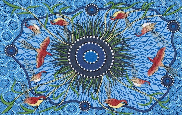 Yeerung Blue, Authentic Aboriginal Fabric